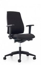 Bureaustoel Se7en Basic, 2D armleggers, stof zwart Lucia 5800, voetkruis kunststof zwart
