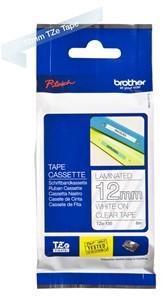 Brothertape TZE-135 12mm wit op transparant
