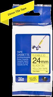 Brothertape TZE-FX651 24mm zwart op geel flexibel