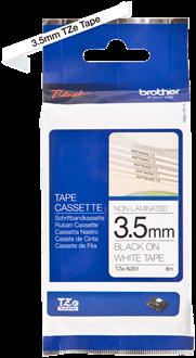 Brothertape TZE-N201  3,5mm zwart op wit niet gelamineerd