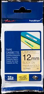 Brothertape TZE-PR831 12mm zwart op premium goud