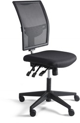 Werkstoel 1343 lage zitting netbespanning, voetkruis kunststof