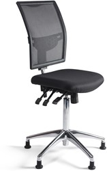 Werkstoel 1349 hoge zitting netbespanning, voetkruis aluminium