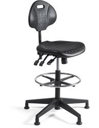Werkstoel 257 hoge zitting PU, voetkruis kunststof
