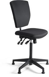 Werkstoel 278 hoge zitting stof, voetkruis kunststof