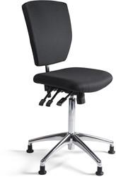 Werkstoel 279 hoge zitting stof, voetkruis aluminium