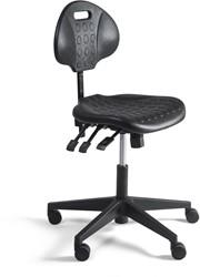 Werkstoel 281 lage zitting PU, voetkruis kunststof